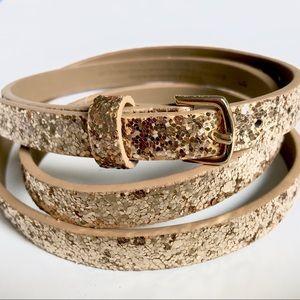 Thin Gold Glitter Belt - Large